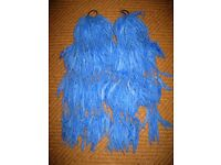 Beautiful soft, long blue wool hair falls x 2