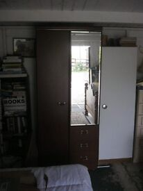 MODERN DARK WOOD WARDROBE. MIRROR, DRAWERS, HANGING RAIL. VIEWING/DELIVERY AVAILABLE
