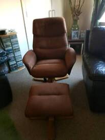 Faux Leather Recliner and Footstool