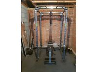 Power Rack, Bar and Assorted Plates