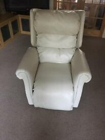 Rider recliner chair in cream faux leather