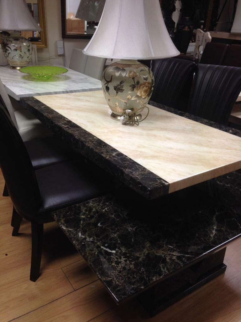 Stunning marble Effect dining table and chairs