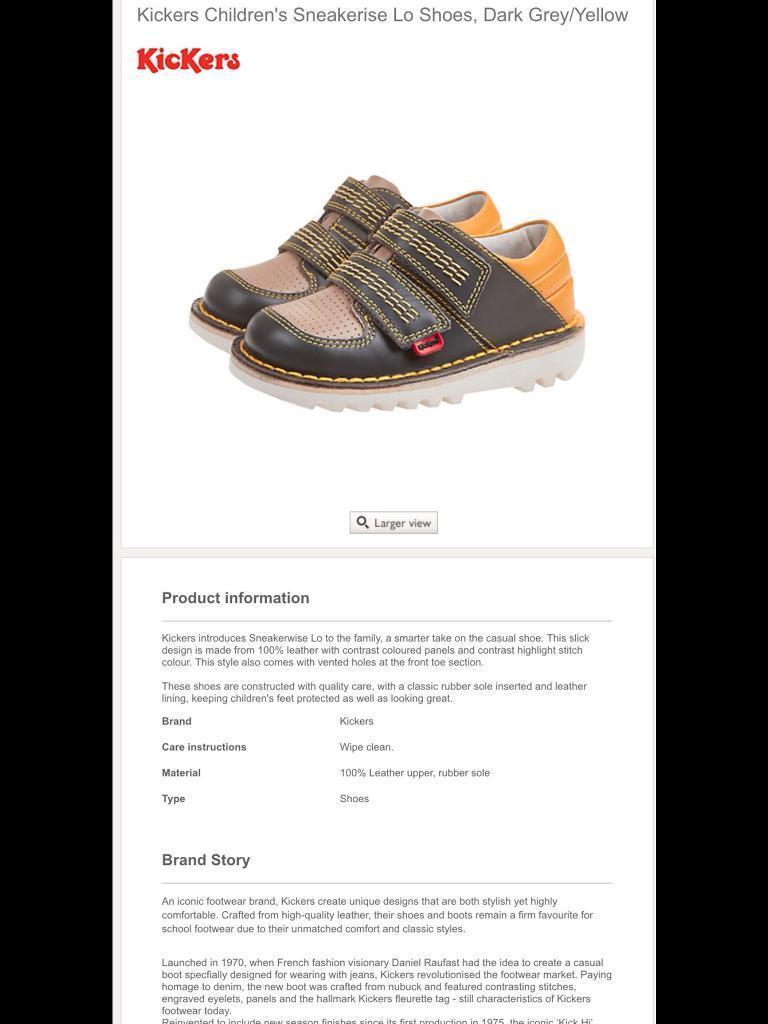 Kickers Sneakerise Lo Infant Size 5