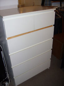 Ikea MALM Chest of 6 drawer, White