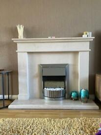 Full stone fireplace