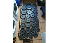 140.5kg Cast Iron Barbell & Dumbbell Weights Set (bench, press, squat, rack, dumbell, gym)