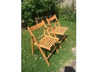 Pair of Quality Wooden Folding Chair Suitable for indoor and outdoor use.