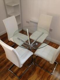 Circular Glass Dining Table with 4 PU Leather Chairs
