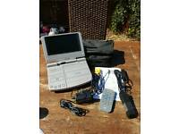 "Tosumi 7"" portable dvd player + remote and accessories working order"