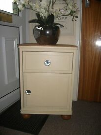 Painted Pine Bedside Drawer and Cupboard