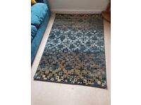 *Brand new* Gorgeous blue and ochre squared rug