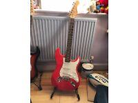 Elevation Left handed red & white guitar & amp