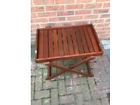 Wooden butler table, occasional, side, folding / serving , tray with stand , coffee, garden , small