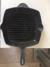 Blue le creuset cast iron griddle pan