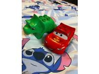 Duplo car and triceratops