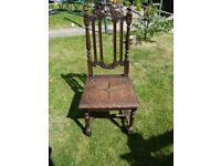 ANTIQUE VERY OLD ORNATE HEAVY SOLID OAK CHAIR
