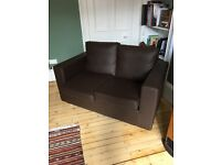 2-seater brown faux-leather sofa