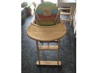 Lovely wooden Mothercare high chair with seat pad. Very good condition