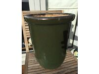 Lovely Large, Tall Deep Sea Green Glazed Terracotta Planter Pot