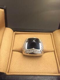 BVLGARI Onyx & Diamond Pyramid Ring RRP £ 3,200.00