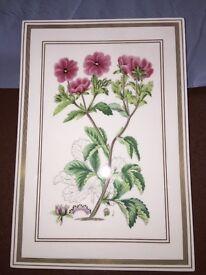 Royal Worcester flower tiles set in four botanical studies