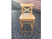 2 x Ikea Ingolf Beech Wood Bar stools
