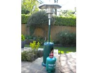 PATIO HEATER. LPG GARDEN AS HEATER COMPLETE WITH HOSE, REGULATOR AND GAS BOTTLE. AS NEW