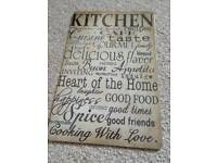 Metal kitchen wall art plaque