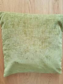 "Dunelm lime green 3 cushions. 17"" x 17"""