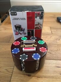 Poker Rack with Chips and 2 Sets of Quality Playing Cards