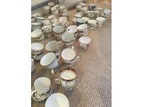 200 x mixed teacups & saucers - great for wedding