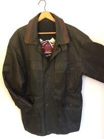 Man's olive green leather coat - John B Classic
