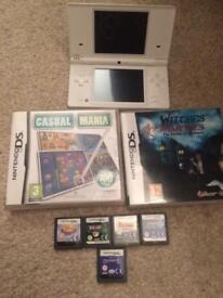 White dsi console and games