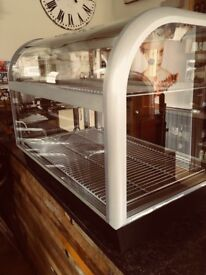 Ambient food display cabinet 900(w) x 525 (d) Extruded aluminium frames and metallic silver finish