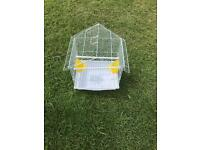 Small white bird cage with 2 feeders only £10