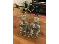 Rustic Olive oil and balsamic vinegar glass and metal kitchenware set