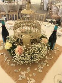 5 x Large Cream Birdcages Wedding Decorations