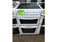 INDESIT 50CM CEROMIC TOP ELECTRIC COOKER IN WHITE