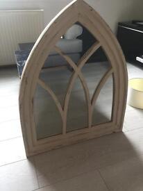 Antique effect wooden mirror