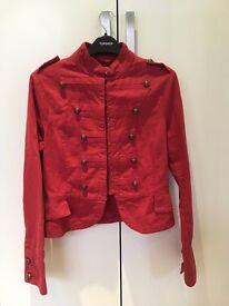 Red uniform style Jacket, Size 12, Topshop