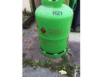 green propane gas bottle