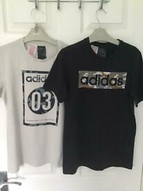 2x Boys Adidas T Shirts Age 11-12 Years
