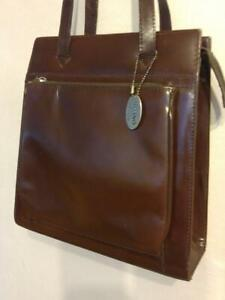 MINT VINTAGE 11x12x4 MILANO Structured Leather Tote Bag Purse Burgundy Brown Retro Purse Shopping Large Real Genuine