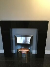 Next Black Gloss Fire Surrond and Electric Fire