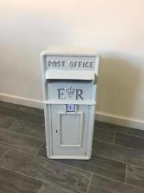 White with Silver Text Cast Iron Post Box for sale wedding