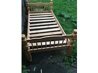 Single solid wooden bed frame