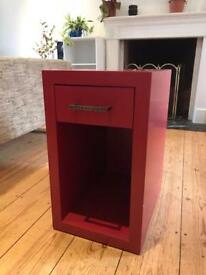 Vintage red bedside table