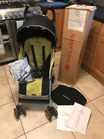 Boxed Maclaren Quest Lime & Black Buggy Pushchair, Rain Cover + Cosy Toes; Birth - 3 Years: Exc Cond
