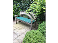 Wooden Garden bench in excellent condition with cushion £50