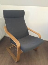 Ikea Poang chair with grey cushion